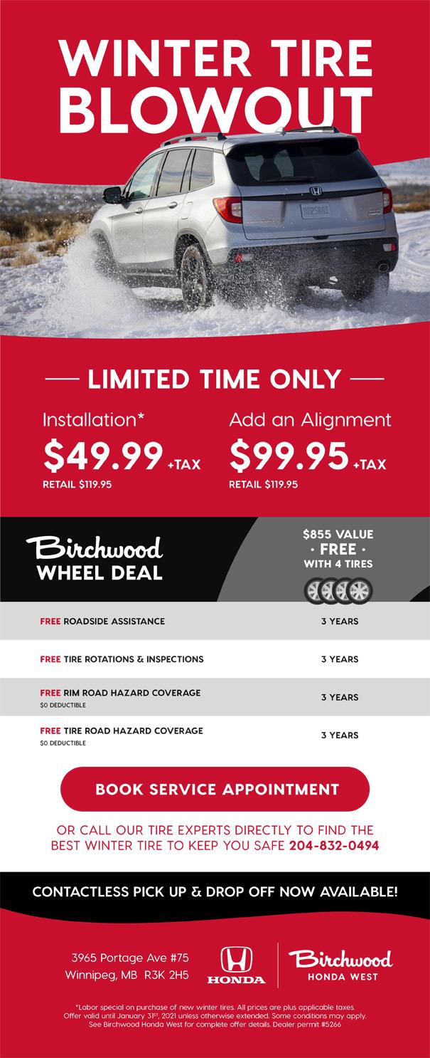 Birchwood Honda West Service Offer Winter Tires